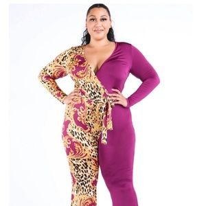 Plus size Leopard color Jumpsuit